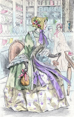 1850, Womens Fashion In Nineteenth-century Paris Art Print
