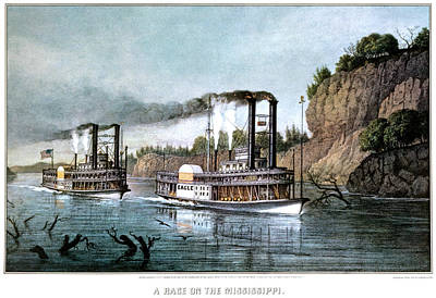 Speed Boat Painting - 1850s A Race On The Mississippi - by Vintage Images