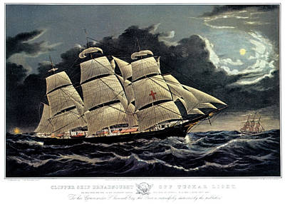 Sea Moon Full Moon Painting - 1850s Clipper Ship Dreadnought - by Vintage Images