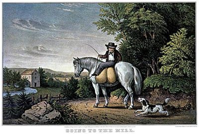 Business To Business Painting - 1850s Going To The Mill - Currier & by Vintage Images