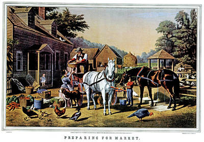 Chicken Portrait Wall Art - Painting - 1850s Preparing For Market - Currier & by Vintage Images