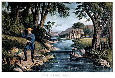 Trout Streams Painting - 1850s The Trout Pool Fishing - Currier by Vintage Images