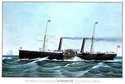 Us Mail Painting - 1850s Us Mail Steamship Adriatic 1350 by Vintage Images