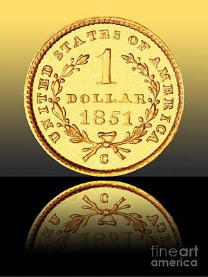 1851 1 Dollar Rare Charlotte Gold Art Print