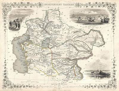 Continent Mixed Media - 1851 Asia Map by Dan Sproul