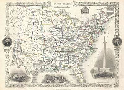 Northeast Mixed Media - 1851 United States Of America Map by Dan Sproul