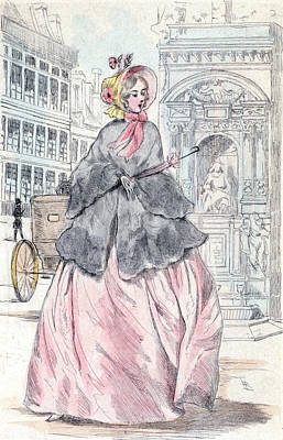 1851, Womens Fashion In Nineteenth-century Paris Art Print