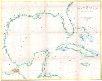 1852 Andrews Map Of Florida Cuba And The Gulf Of Mexico Art Print by Paul Fearn