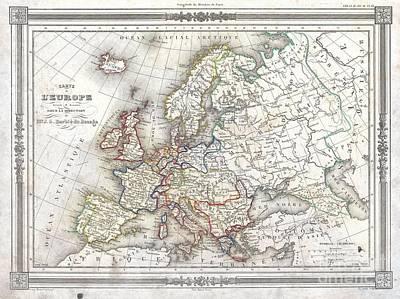 1852 Barbie Du Bocage Map Of Europe Art Print