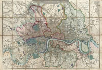 1852 Davies Case Map Or Pocket Map Of London Art Print