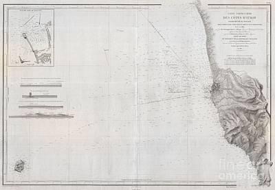 1852 Depot De La Marine Nautical Chart Or Map Of Livorno Tuscany Italy  Art Print