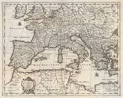 1852 Jansson Map Of Europe In Antiquity Art Print