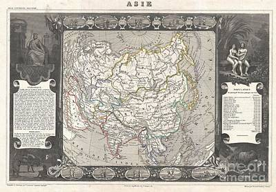 1852 Levasseur Map Of Asia Art Print by Paul Fearn