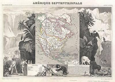 1852 Levasseur Map Of North America  Art Print by Paul Fearn