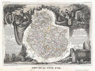Pinot Noir Photograph - 1852 Levasseur Map Of The Department Cote Dor France by Paul Fearn