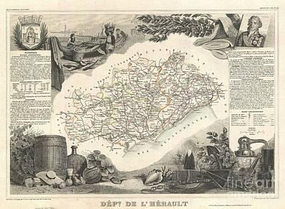 1852 Levasseur Map Of The Department De Lherault France Art Print by Paul Fearn