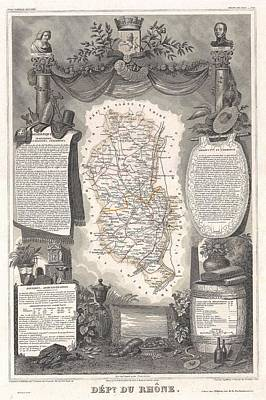 1852 Levasseur Map Of The Department Du Rhone France  Beaujolais Wine Region Art Print
