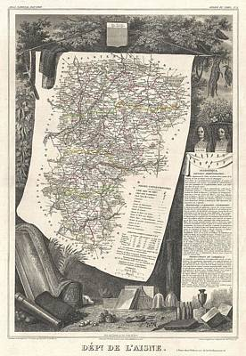 Maps Photograph - 1852 Levasseur Map Of The Department L Aisne France by Paul Fearn