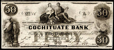 Painting - 1853 Cochituate Bank Fifty Dollar Note by Historic Image
