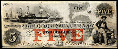 Painting - 1853 Cochituate Bank Five Dollar Note by Historic Image