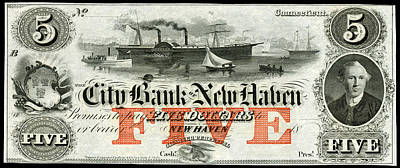Painting - 1855 New Haven Five Dollar Note by Historic Image
