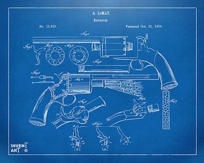 Drawing - 1856 Lemat Revolver Patent Artwork Blueprint by Nikki Marie Smith