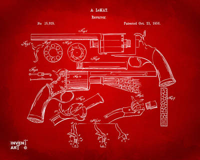 1856 Lemat Revolver Patent Artwork Red Art Print by Nikki Marie Smith