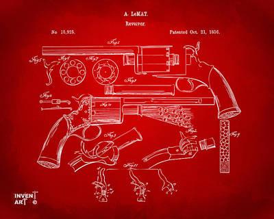 1856 Lemat Revolver Patent Artwork Red Art Print
