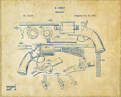 Drawing - 1856 Lemat Revolver Patent Artwork Vintage by Nikki Marie Smith