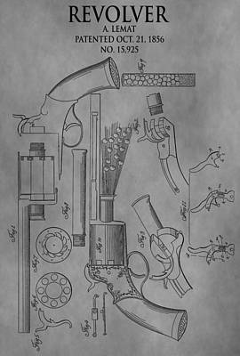 Six Shooter Drawing - 1856 Revolver Patent by Dan Sproul
