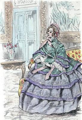 1856, Womens Fashion In Nineteenth-century Paris Art Print