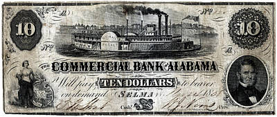 Painting - 1858 Alabama Ten Dollar Note by Historic Image