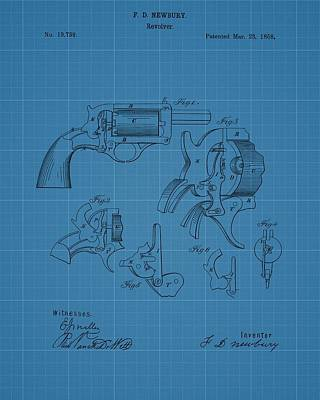 Six Shooter Drawing - 1858 Revolver Blueprint Patent by Dan Sproul