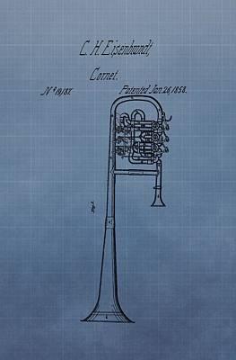 Jazz Band Digital Art - 1858 Trumpet Patent by Dan Sproul