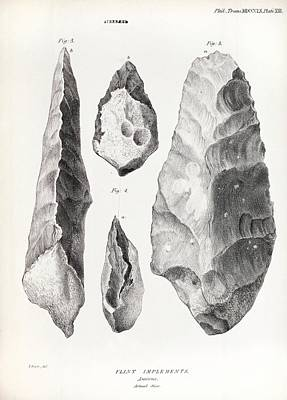 Biface Photograph - 1860 Flint Handaxe From Prestwich Article by Paul D Stewart