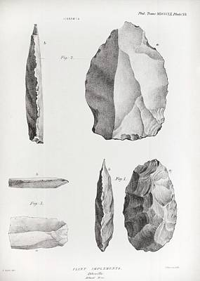 Handaxe Photograph - 1860 Flint Implements Prestwich Article by Paul D Stewart