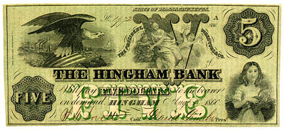 Painting - 1860 Hingham Bank Five Dollar Note by Historic Image