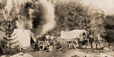 Prospecting Mixed Media - 1860 Pikes Peak Prospectors by Dan Sproul