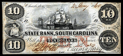 Painting - 1860 South Carolina Ten Dollar Note by Historic Image