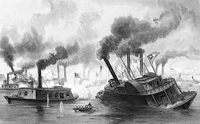 Mississippi River Painting - 1860s June 1863 Battle Of The Rams by Vintage Images