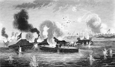 1860s March 9 1863 Naval Combat Battle Art Print