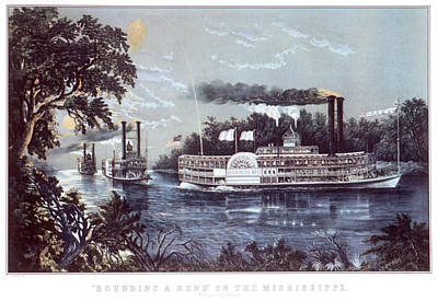 Mississippi River Painting - 1860s Rounding A Bend On Mississippi by Vintage Images