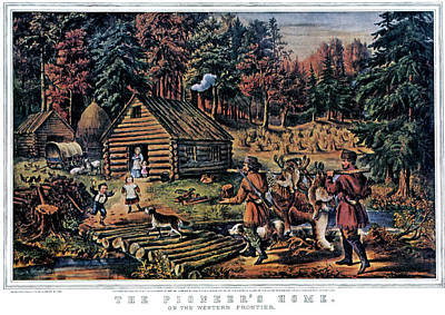 1860s The Pioneer Home On Western Art Print
