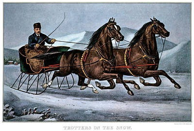 Driving Horses Painting - 1860s Trotters On The Snow - Currier & by Vintage Images