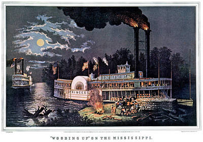 Steamboat Painting - 1860s Wooding Up On The Mississippi - by Vintage Images