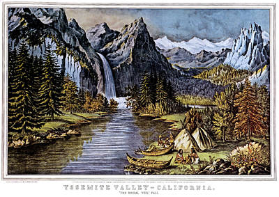 Bridal Veil Falls Painting - 1860s Yosemite Valley California - by Vintage Images