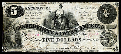Painting - 1861 Confederate Five Dollar Note by Historic Image