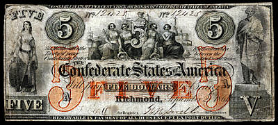 Painting - 1861 Richmond Virginia Five Dollar Note by Historic Image
