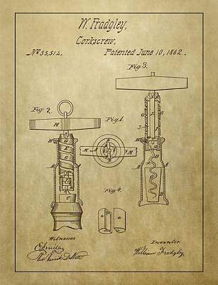 1862 Corkscrew Patent Art Print by Dan Sproul