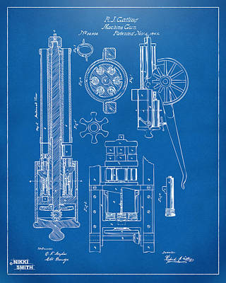 Vet Digital Art - 1862 Gatling Gun Patent Artwork - Blueprint by Nikki Marie Smith